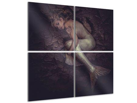 Aluminiumbild 4-teilig Meerjungfrau