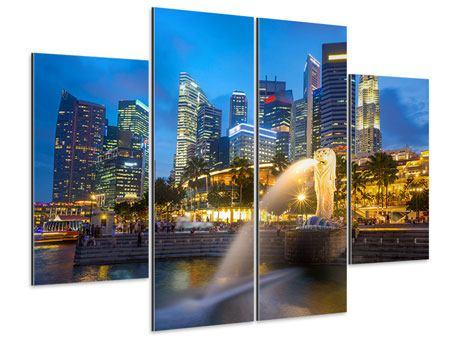 Aluminiumbild 4-teilig Skyline Singapur im Lichtermeer