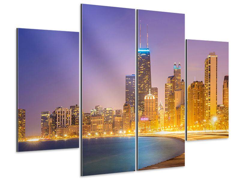 Aluminiumbild 4-teilig Skyline Chicago in der Nacht