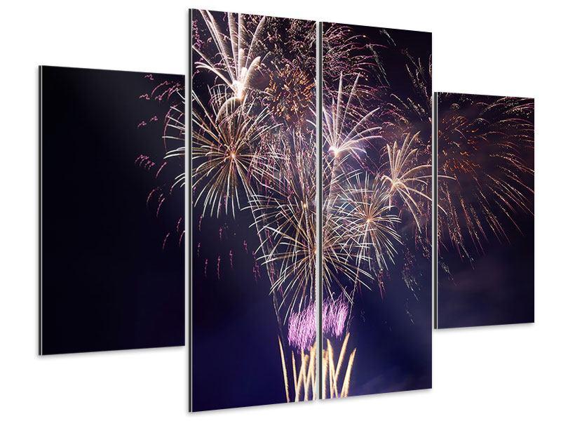 Aluminiumbild 4-teilig Feuerwerk