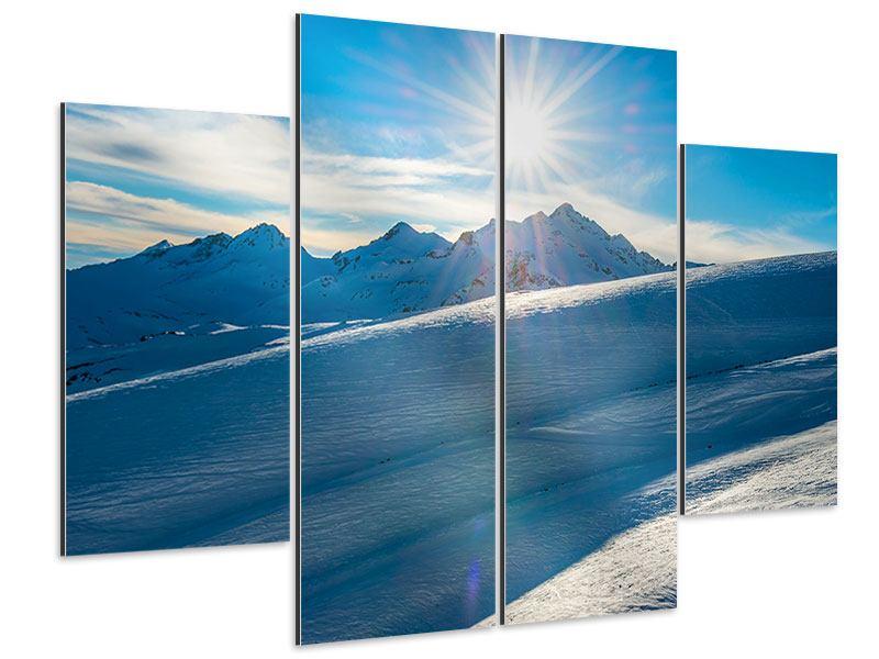 Aluminiumbild 4-teilig Ein Wintermärchen in den Bergen
