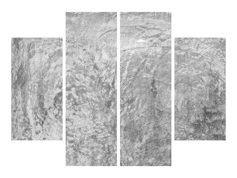 Aluminiumbild 4-teilig Wischtechnik in Grau