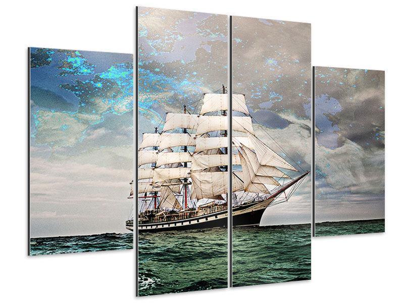 Aluminiumbild 4-teilig Segelschiff