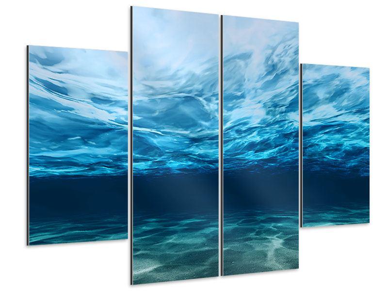 Aluminiumbild 4-teilig Lichtspiegelungen unter Wasser