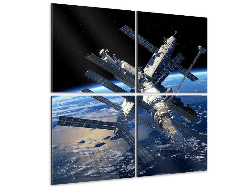 Aluminiumbild 4-teilig Raumstation