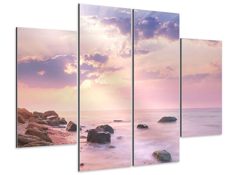Aluminiumbild 4-teilig Sonnenaufgang am Meer
