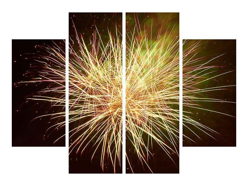 Aluminiumbild 4-teilig Feuerwerk XXL
