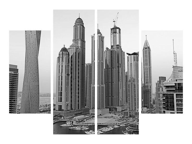Aluminiumbild 4-teilig Majestätische Wolkenkratzer in Dubai