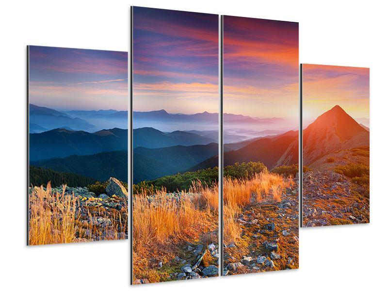 Aluminiumbild 4-teilig Sonnenuntergang in den Alpen
