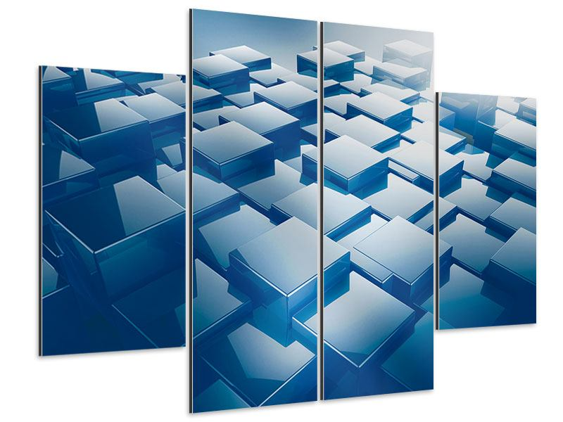 Aluminiumbild 4-teilig 3D-Cubes