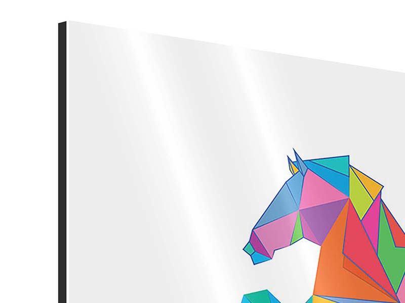 Aluminiumbild 4-teilig Origami Pferd