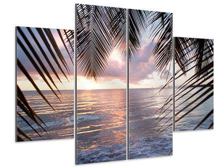 Aluminiumbild 4-teilig Unter Palmenblätter