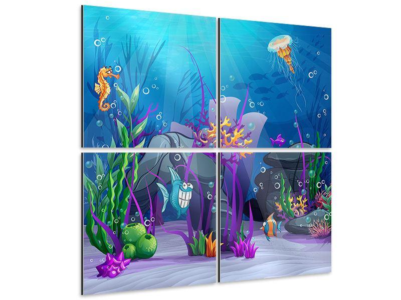 Aluminiumbild 4-teilig Unterwasserschatzsuche