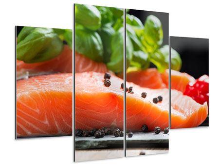 Aluminiumbild 4-teilig Frischer Fisch