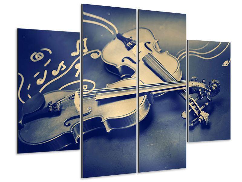 Aluminiumbild 4-teilig Geigen