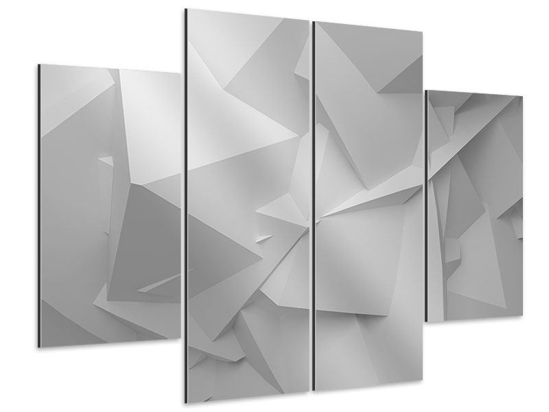 Aluminiumbild 4-teilig 3D-Raster