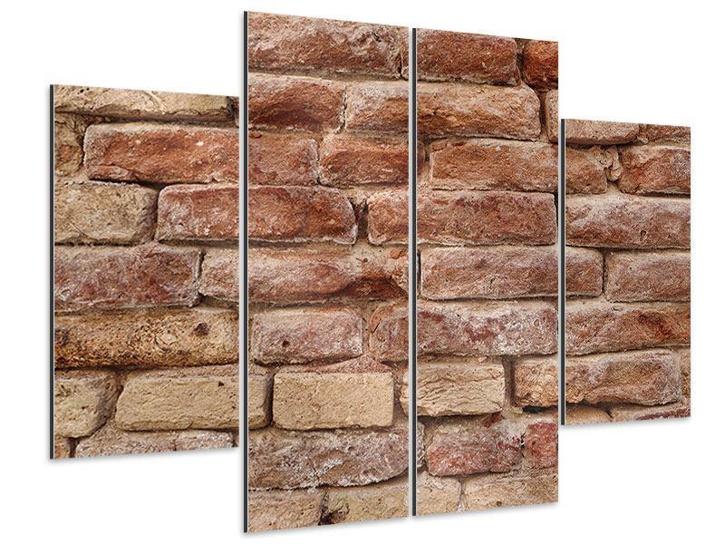 Aluminiumbild 4-teilig Loft-Mauer