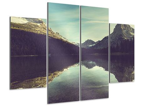 Aluminiumbild 4-teilig Spiegelung im Bergsee