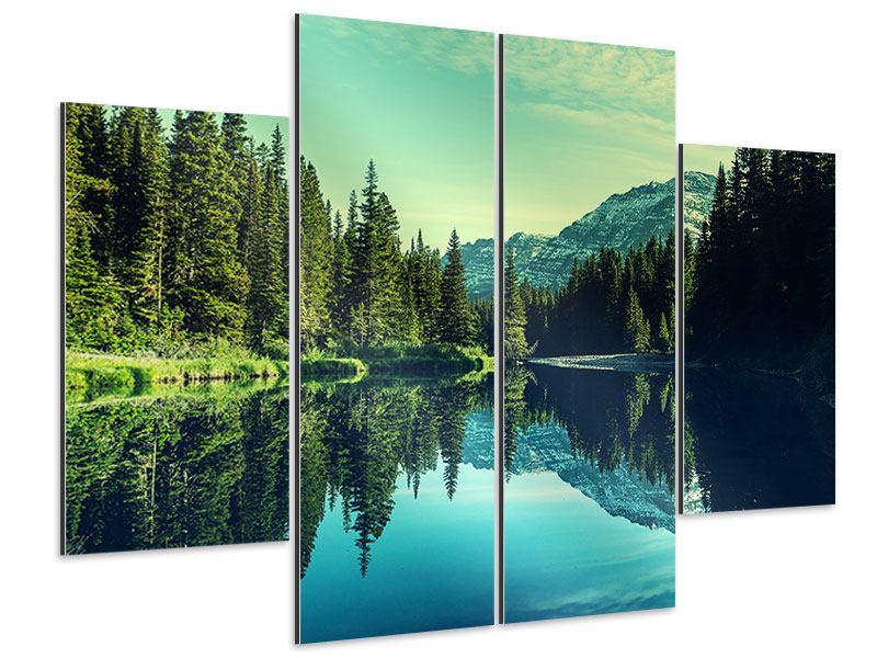 Aluminiumbild 4-teilig Die Musik der Stille in den Bergen