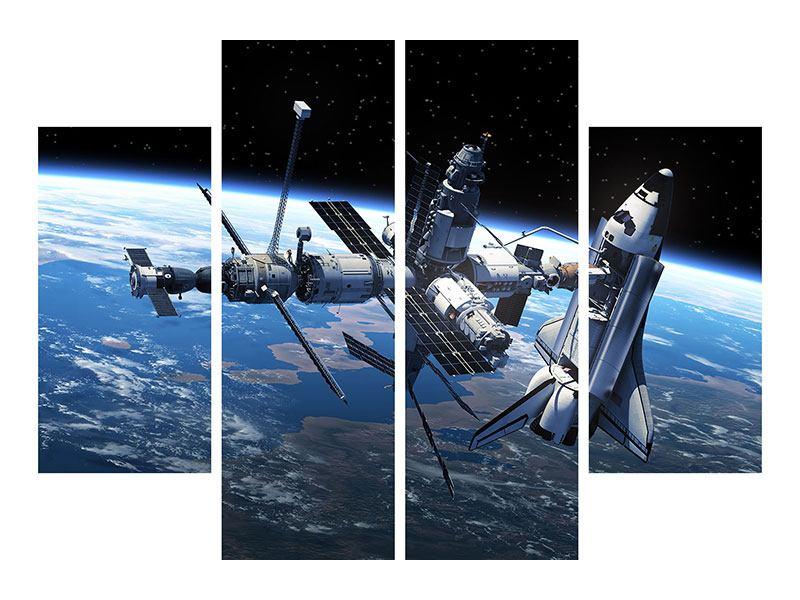 Aluminiumbild 4-teilig Satellit