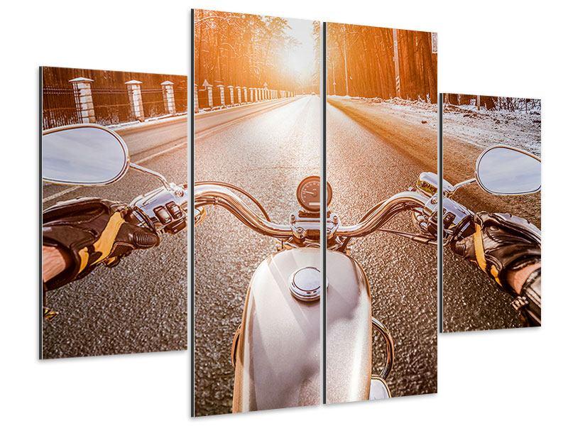 Aluminiumbild 4-teilig Auf dem Motorrad