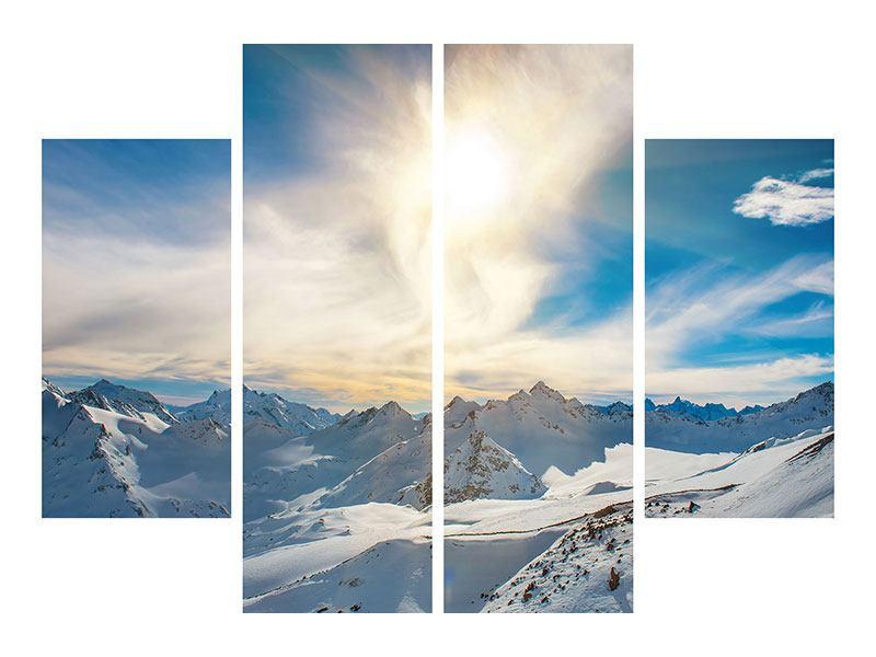Aluminiumbild 4-teilig Über den verschneiten Gipfeln
