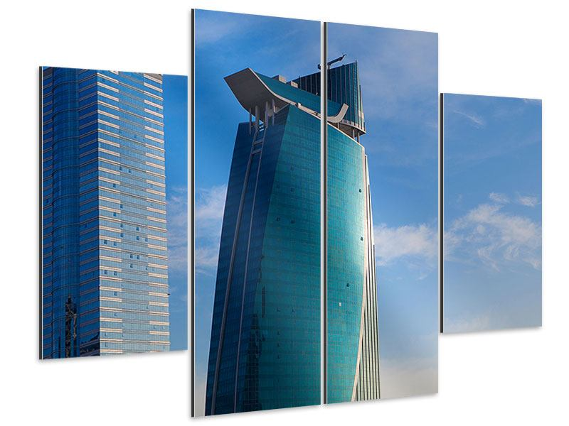 Aluminiumbild 4-teilig Zwei Wolkenkratzer