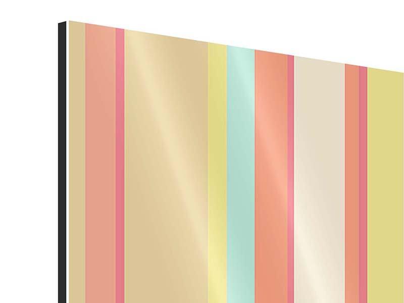 Aluminiumbild 4-teilig Pastell Streifen