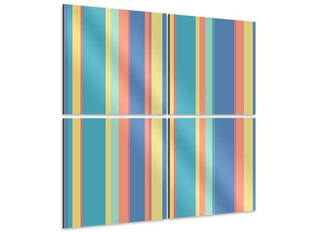 Aluminiumbild 4-teilig Längstreifen in Pastell