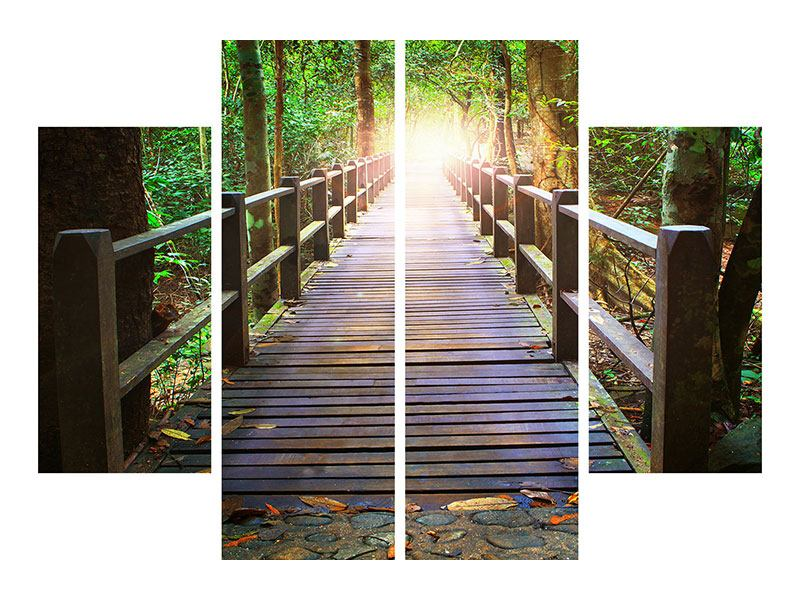 Aluminiumbild 4-teilig Die Brücke im Wald
