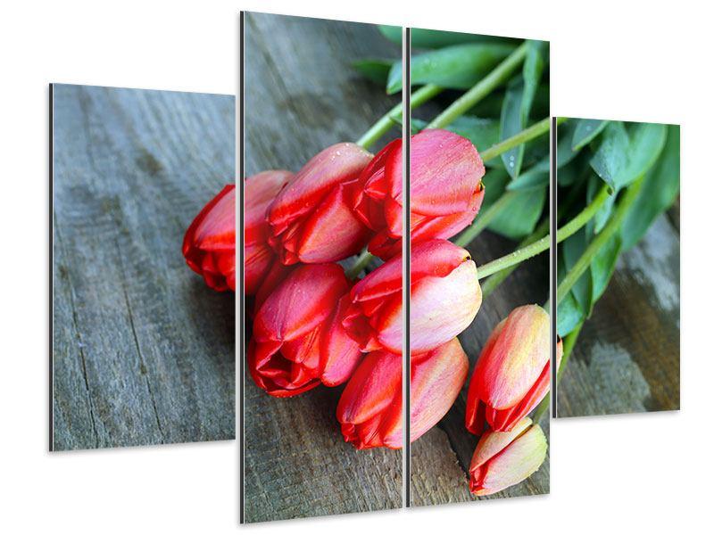 Aluminiumbild 4-teilig Der rote Tulpenstrauss