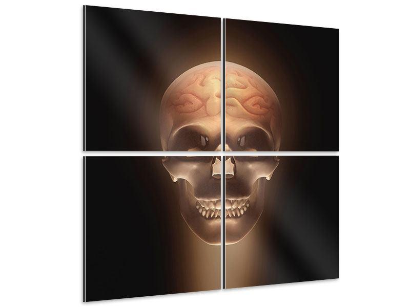 Aluminiumbild 4-teilig Schädel