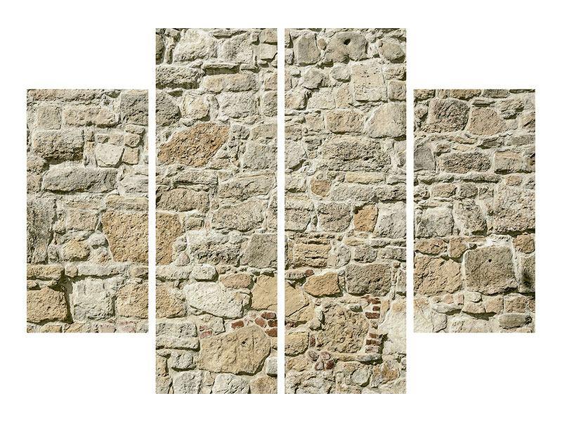 Aluminiumbild 4-teilig Naturmauer