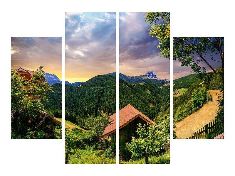 Aluminiumbild 4-teilig Schweizer Berge im Sommer