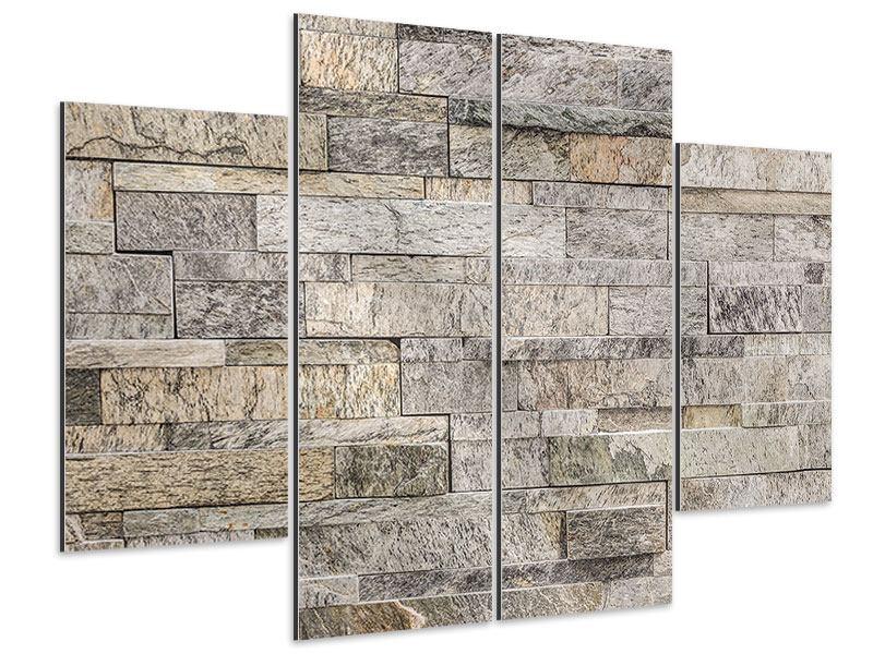 Aluminiumbild 4-teilig Elegante Steinmauer