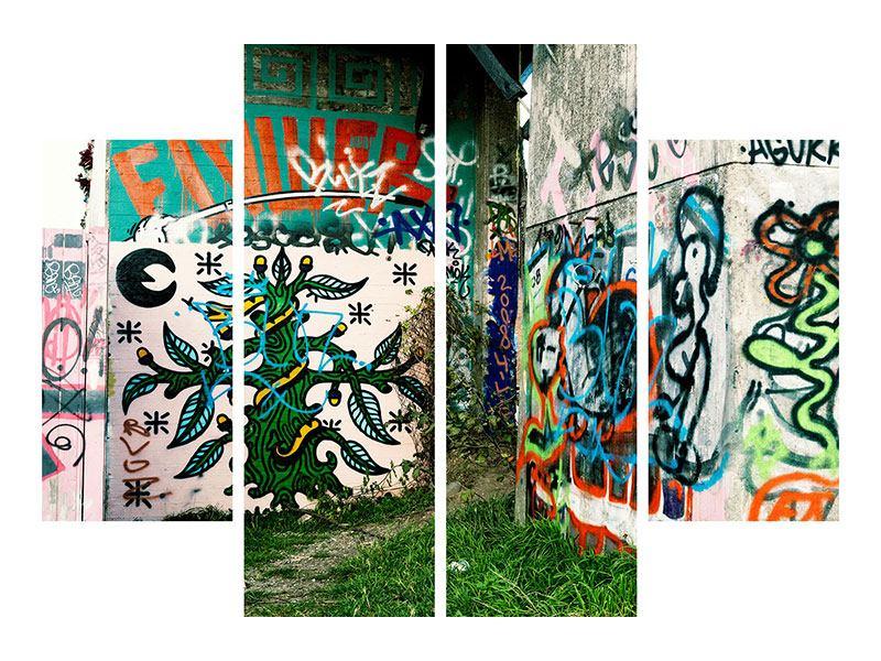 Aluminiumbild 4-teilig Graffiti im Hinterhof