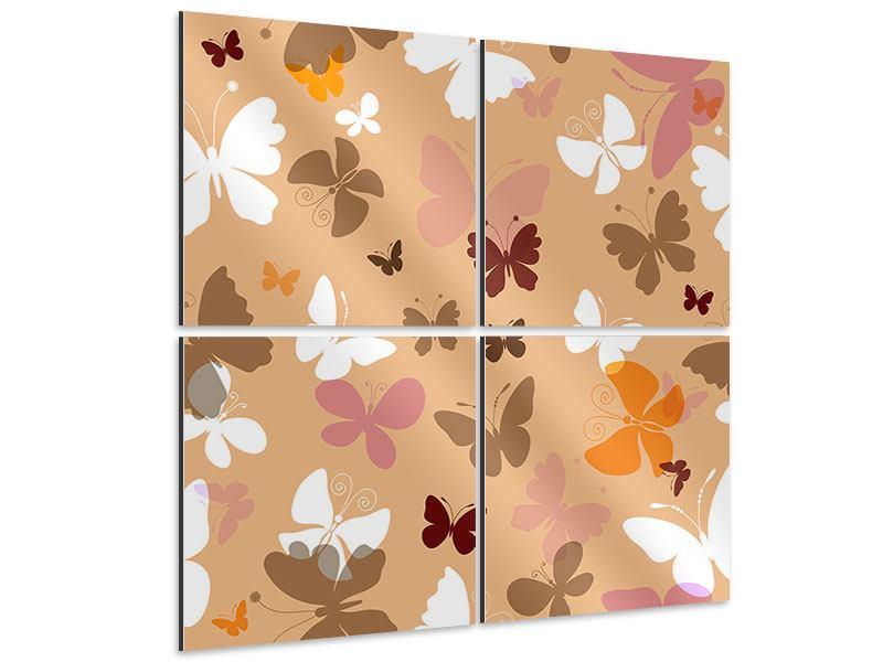 Aluminiumbild 4-teilig Retrodesign Schmetterlinge