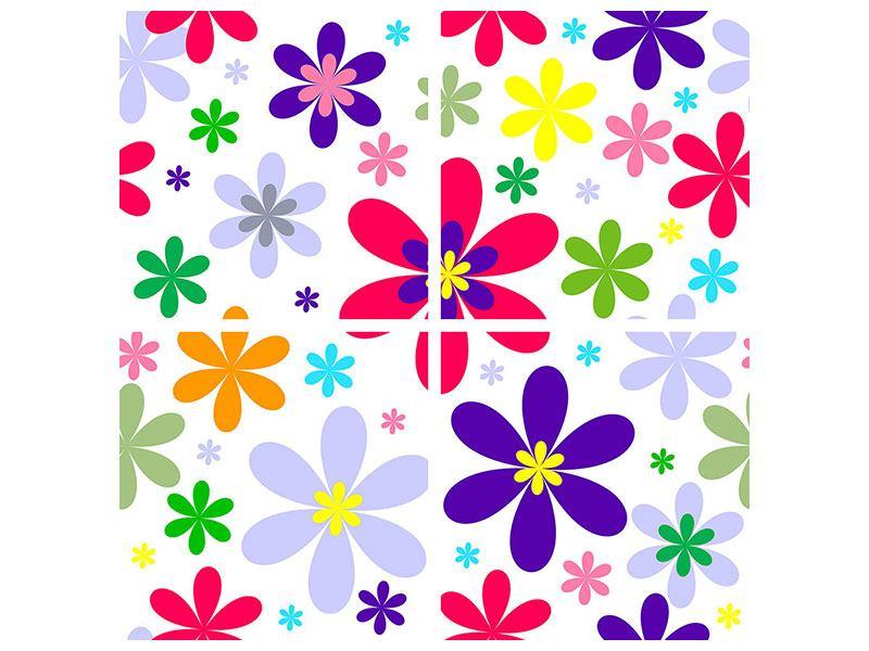 Aluminiumbild 4-teilig Retromode Blumen