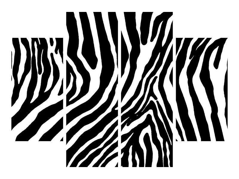 Aluminiumbild 4-teilig Zebramuster