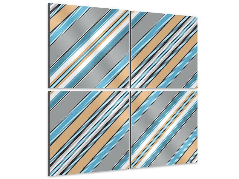 Aluminiumbild 4-teilig Farbstreifen