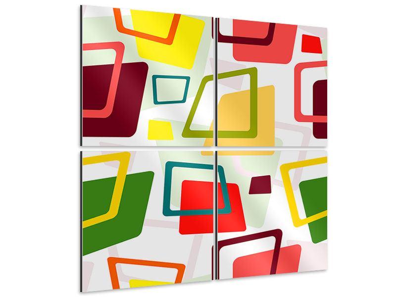 Aluminiumbild 4-teilig Rechtecke im Retrodesign