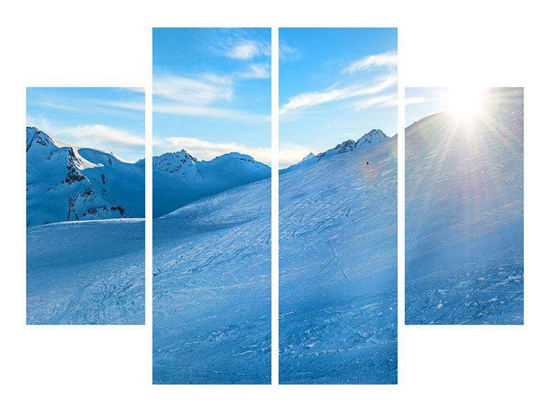 Aluminiumbild 4-teilig Sonnenaufgang in den Bergen