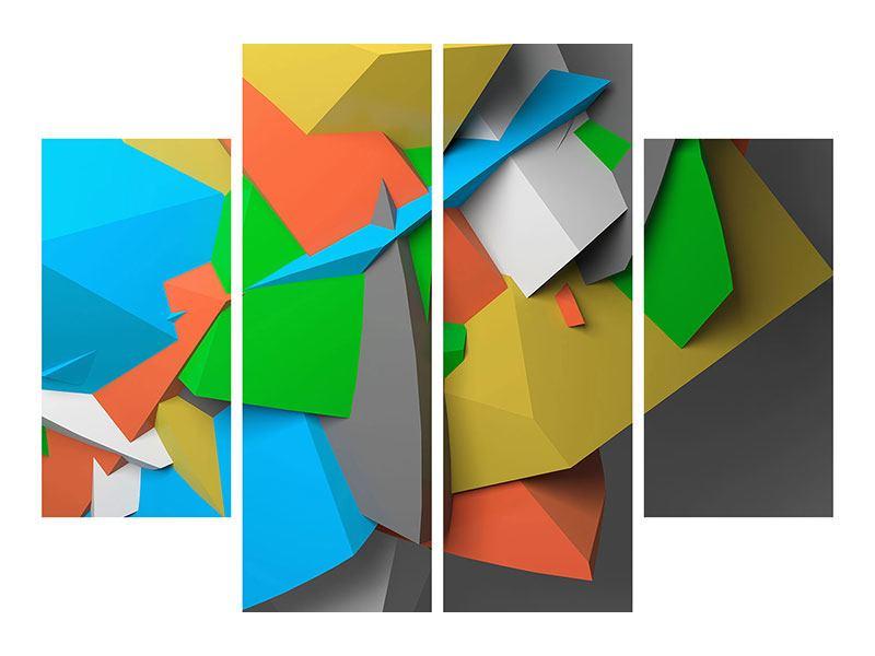 Aluminiumbild 4-teilig 3D-Geometrische Figuren