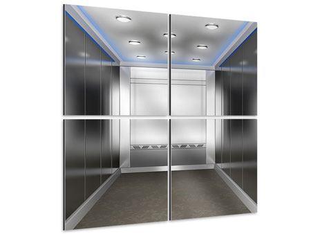 Aluminiumbild 4-teilig Eleganter Aufzug