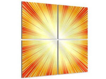 Aluminiumbild 4-teilig Abstrakte Retro Sonne