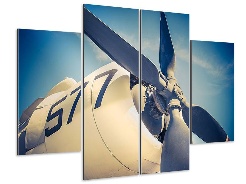Aluminiumbild 4-teilig Close Up Propellerflugzeug