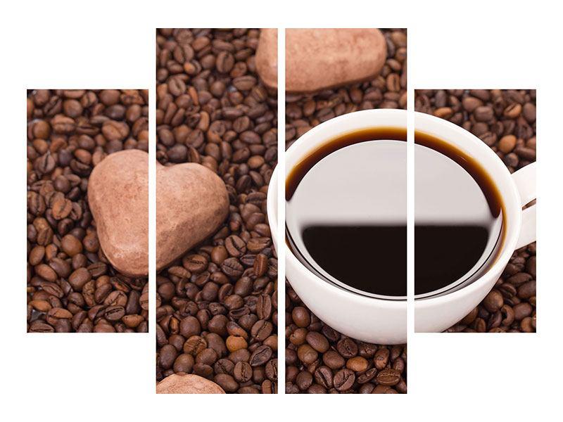 Aluminiumbild 4-teilig Pausenkaffee
