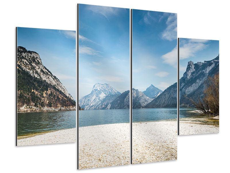 Aluminiumbild 4-teilig Der idyllische Bergsee