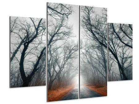 Aluminiumbild 4-teilig Mysteriöse Stimmung im Wald
