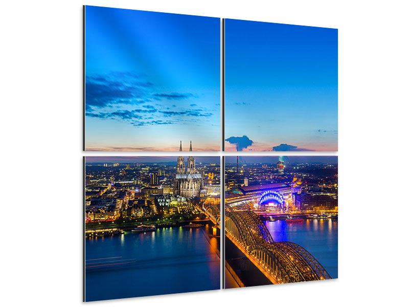 Aluminiumbild 4-teilig Skyline Ein Penthouse in Köln